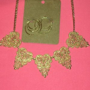 Claire's gold scrollwork necklace hoop earring lot